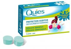 Quies Protection Silicone Ear Plugs for Swimmers - For Kids (3 Pairs)
