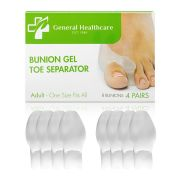 General Healthcare Bunion Gel Toe Corrector - Straightens Separates and protects (4 Pairs / 8 Bunions)