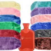 Premium BS Natural Rubber Hot Water Bottle w/ Luxury Soft Faux Cosy Fur Cover 2L