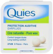 Quies Pure Natural Wax Ear Plugs Protection 8 pairs noise reduction