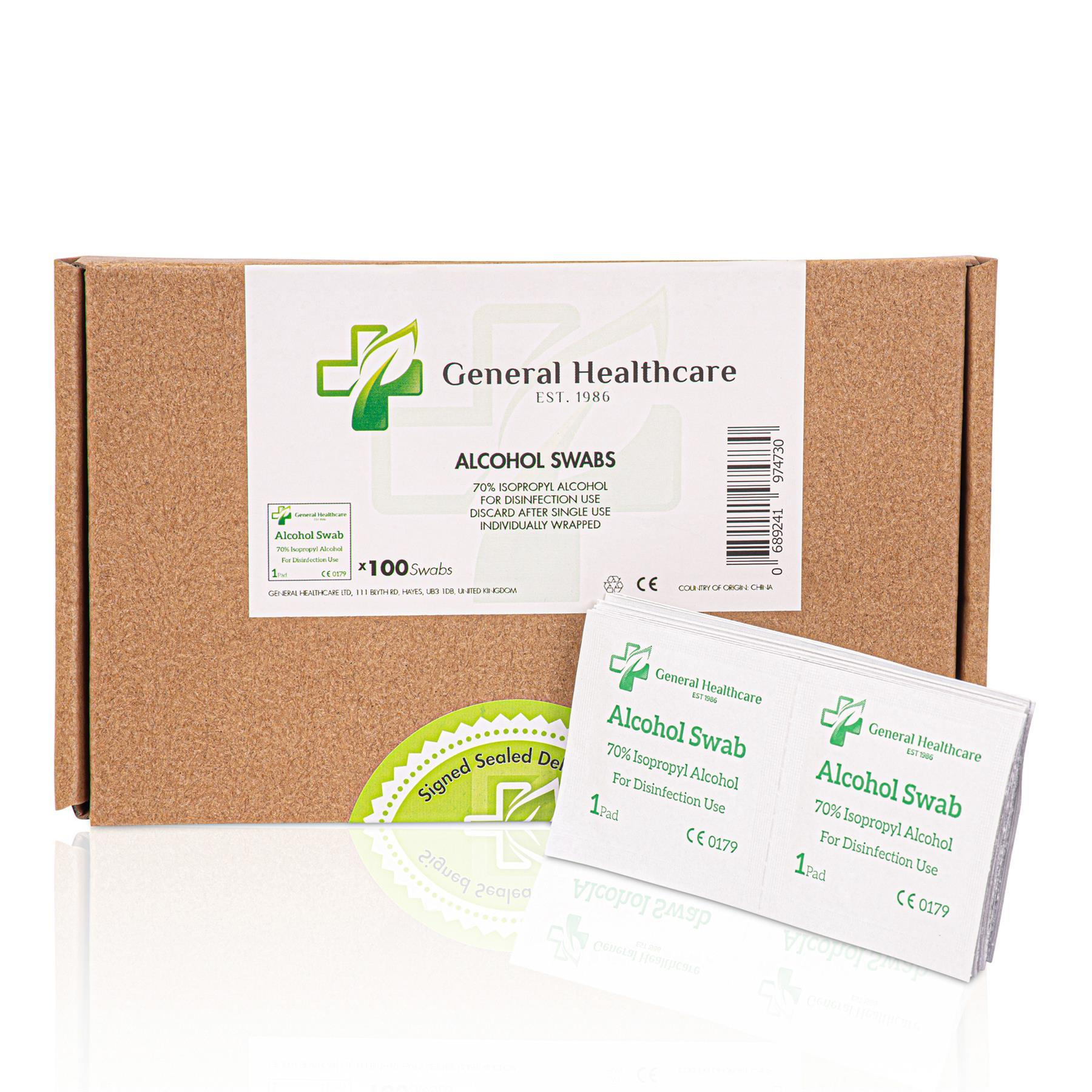 General Healthcare Alcohol Pre-Injection Alcohol Isopropyl Swabs (100 Packets)