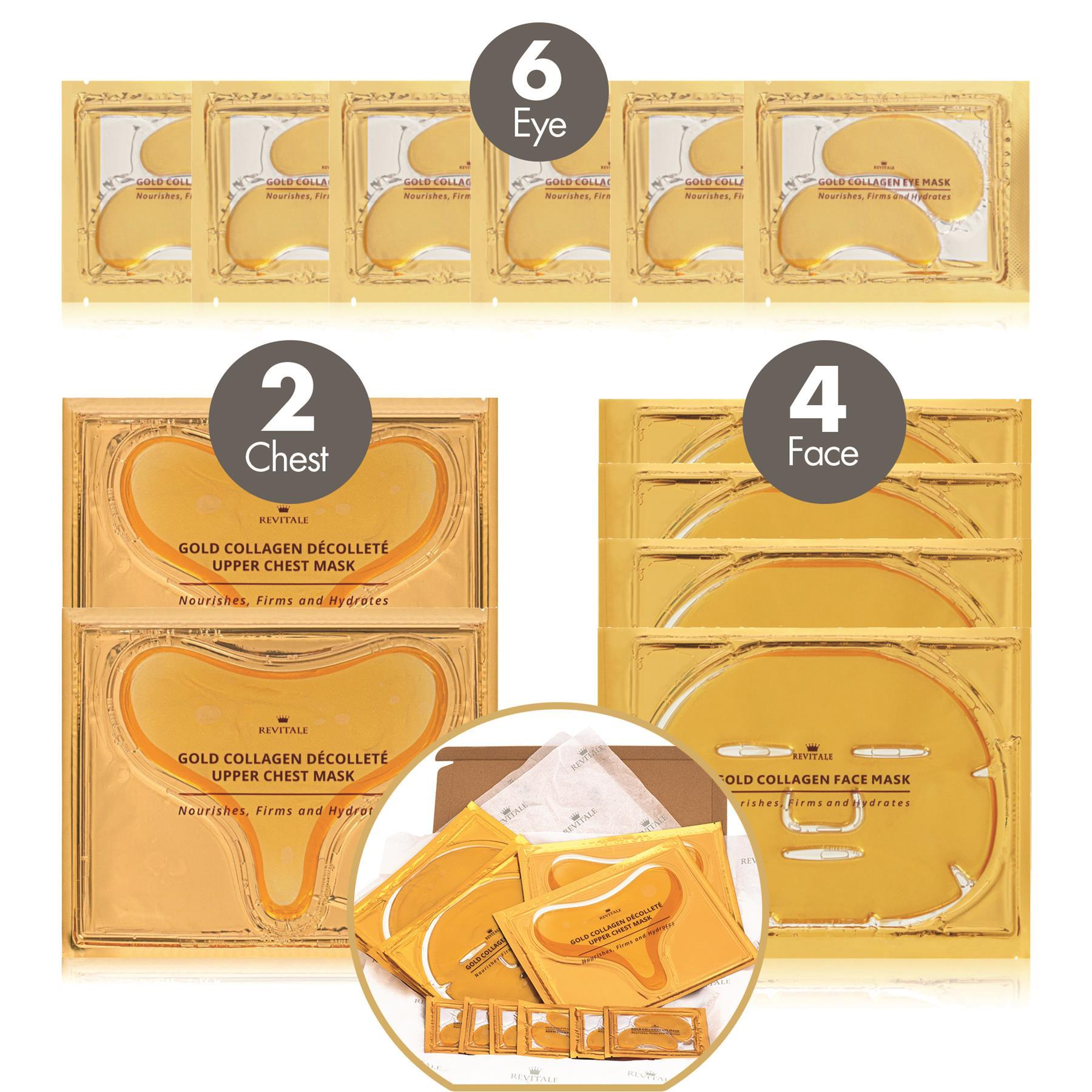 Revitale Gold Collagen Beauty Gift Pack - 6 Eye Gels - 4 Face Masks - 2 Upper Chest Masks