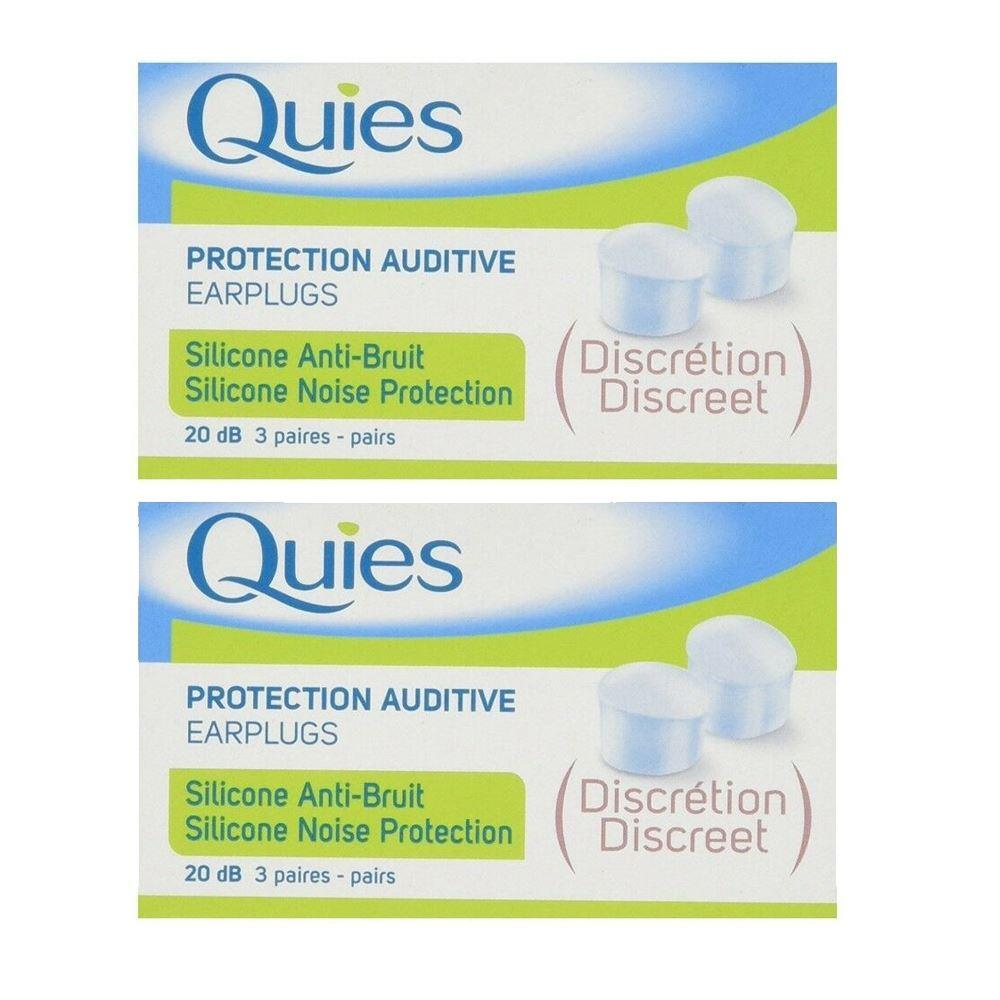 Quies Protection Auditive Earplugs - Silicone Noise Protection - 2 Pack