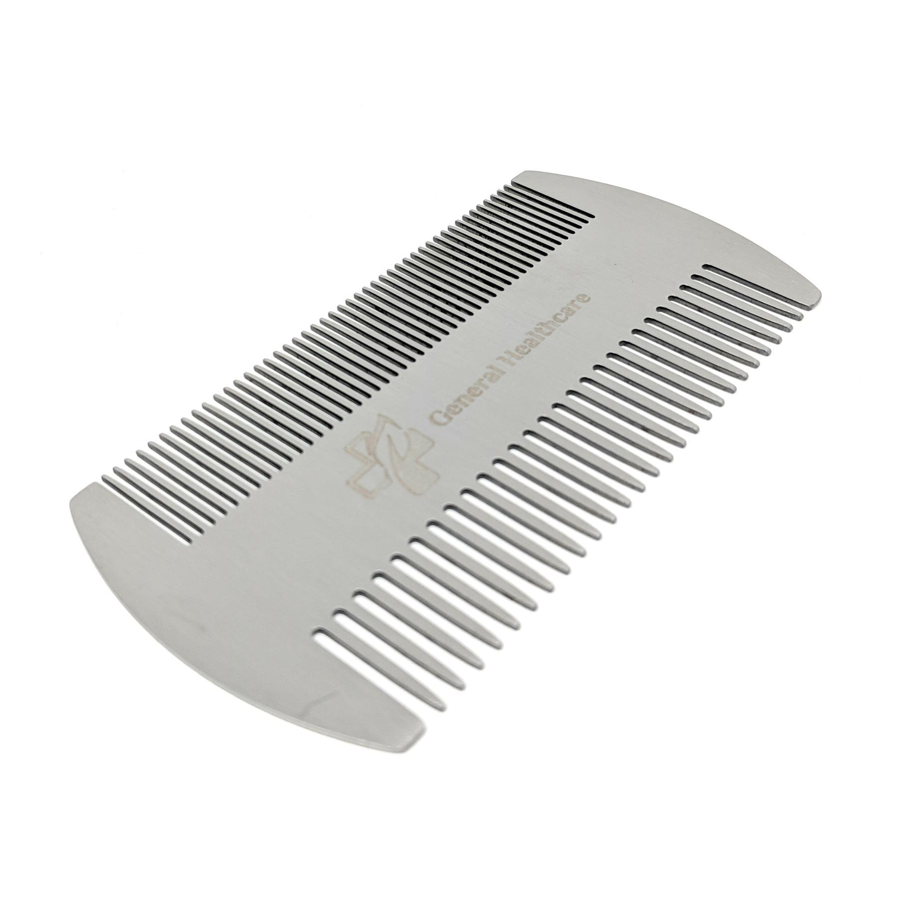 General Healthcare Metal Stainless Steel Hair Comb - Dual Action Lice Hair Beard